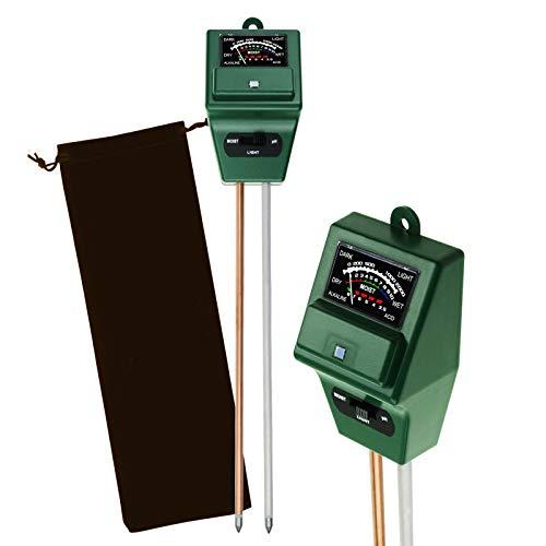 DANOPLUS 3 in 1 Boden Prüfung Kit pH, Feuchtigkeit und Licht Meter Prüfer für Zuhause, Garten, Rasen, Bauernhof Gesund Wachstum von Pflanzen Drinnen/Draußen Testen Plus Kostenlos Beutel