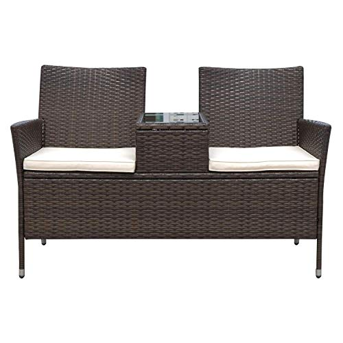 418ljcmraKL. SS500  - Rattan Garden Furniture 2 Seater Loveseat with Middle Glass Table Tea Coffee Comfortable Cushions Wicker Porch Deck Poolside Patio Seating Chair Bench Dark Brown