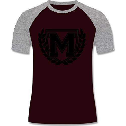 Anfangsbuchstaben - M Collegestyle - zweifarbiges Baseballshirt für Männer Burgundrot/Grau meliert