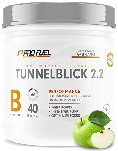 TUNNELBLICK 2.2 | Power • Fokus • Pump | Pre Workout Booster | DAS ORIGINAL von ProFuel ® | Pump Booster mit Guarana, Beta-Alanin & Tyrosin | 360g - 40 Portionen | GREEN APPLE (Grüner Apfel)