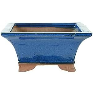 Bonsaischale 12x12x5.5cm Blau Quadratisch Glasiert