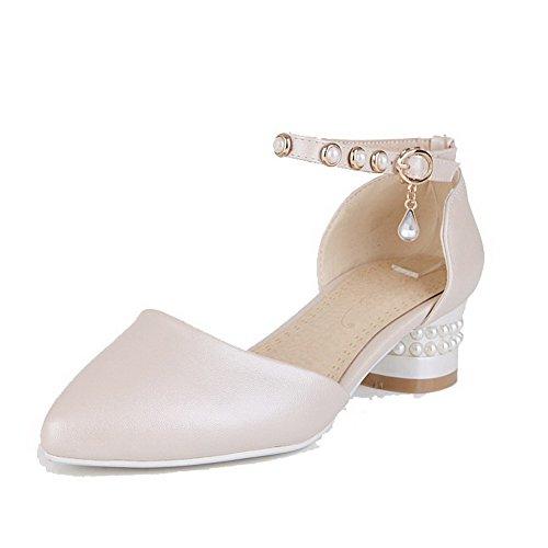 Damen Weiches Material Rund Zehe Schnüren Eingelegt Pumps Schuhe, Aprikosen Farbe, 38 VogueZone009