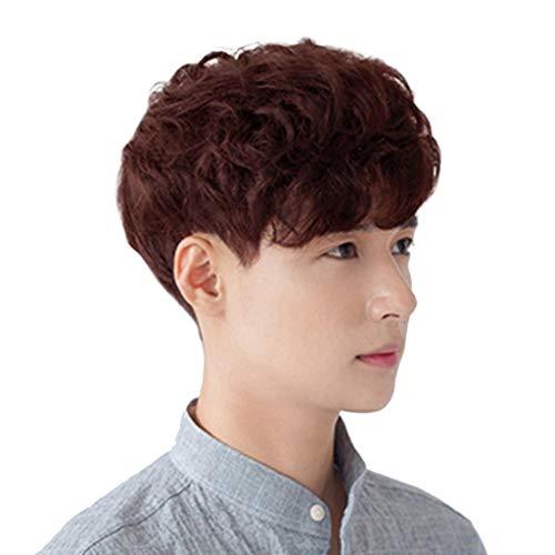 (Bluestercool Mode kurze Perücken für Männer, braun schwarz Flaumige realistische Perücke, des lockigen Haares des männlichen)