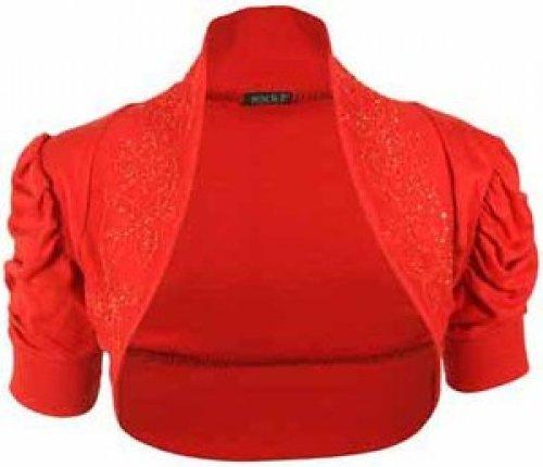 Femmes Grande Taille douille de souffle perles rouched manche bolero shrug cardigan red