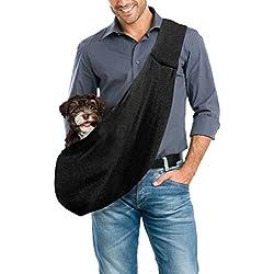 Transportín Bolsa Portátil de Viaje para Mascotas Bolsa Portador Hombro de Perro Bolso de Hombro para perros pequeños y medianos (Negro)