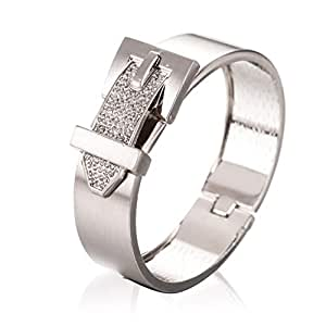 SAPHIRA Fashion Unique Jewelry New Style Belt Buckle Clasp Cuff Closure Stainless Steel Bangle Bracelet Jewelry Accessories Sparkle Small Stone Closure Bangle for Women/Girl