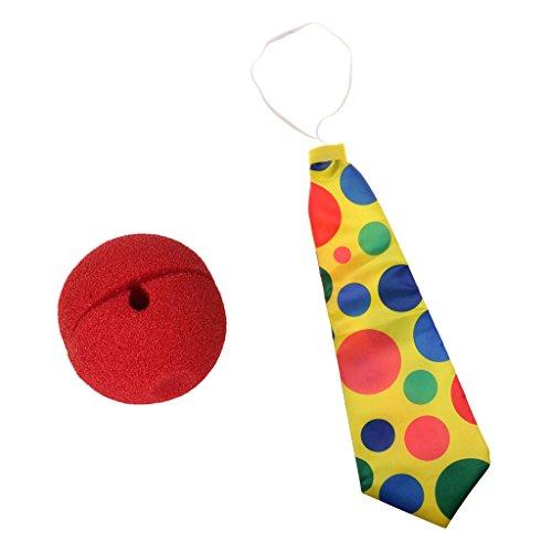Sharplace Lustige Polka-Punkt-Krawatte Clown-Spaßvogel-rote Schaum-Clown-Nasen-Abendkleid-Partei