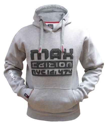 Max Edition Herren Kapuzenpullover Sweatshirt mit Kapuze MSW 16 grau marl