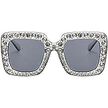 Hzjundasi Sonnenbrillen für Damen,Dicke Rechteckig Bling Diamant Groß Eyewear Sonnenbrille Flache Linsen Plastik Rahmen Strass Vintage UV400