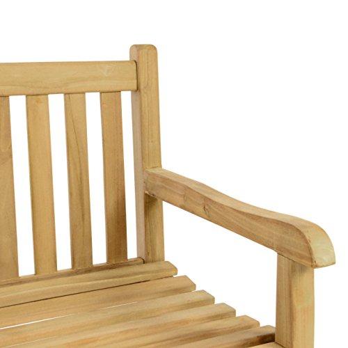 DIVERO 2-Sitzer Bank Holzbank Gartenbank Sitzbank 130 cm – zertifiziertes Teak-Holz hochwertig massiv behandelt – reine Handarbeit – wetterfest - 3