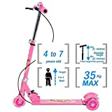 Euphoric incTM 3 Wheels Kids Foldable Kick Scooter with LED Lights on Wheels