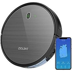 Aspirapolvere Robot D5 1800Pa ZIGLINT, App Controllo,Alexa e Google Home Connettività, 4 Modalità Di Pulizia Perfetta Per Pavimenti e Tappeti, Ottimo Per i Peli Degli Animali Domestici, Nero