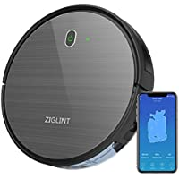 ZIGLINT D5 Robot Vacuum Cleaner -1800Pa Strong Suction, Super Thin, Quite, Self-Charging, Anti-Fall, Alexa App Connect, Robotic Vacuum Cleaner for Pet Hair Hard Floors Carpets 2 Year Warranty