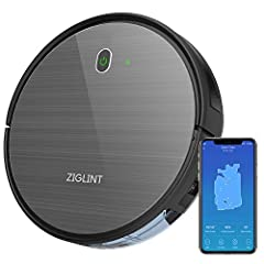 Idea Regalo - ZIGLINT Aspirapolvere Robot D5 1800Pa, App Controllo, Alexa e Google Home Connettività, 4 Modalità Di Pulizia Perfetta Per Pavimenti e Tappeti, Ottimo Per i Peli Degli Animali Domestici, Nero
