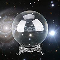 AUNMAS 3inch 80mm Crystal Ball Clear Glass Ball Meditation Solar System Magic Healing Crystal Photography Prop Utensil Gift for Home Christmas Birthday Party(4#)
