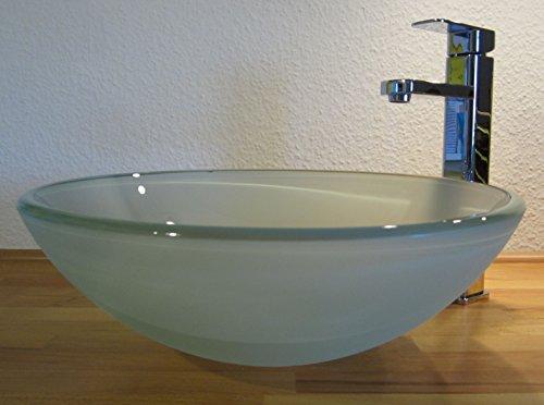 Nero Aufsatz Glas Waschbecken satiniert 42cm