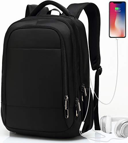 Rucksack Herren, Rucksack Schule,Laptop Rucksack für Herren Damen Daypacks für 15.6 Zoll Laptop Business Rucksack mit USB Ladeanschluss, Oxford, 32L (Schwarz)