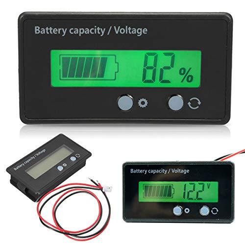 Yonhchop Display LCD retroilluminato Impermeabile Universale capacità della Batteria Tester del voltmetro Tester del voltmetro per Batteria 12-48V