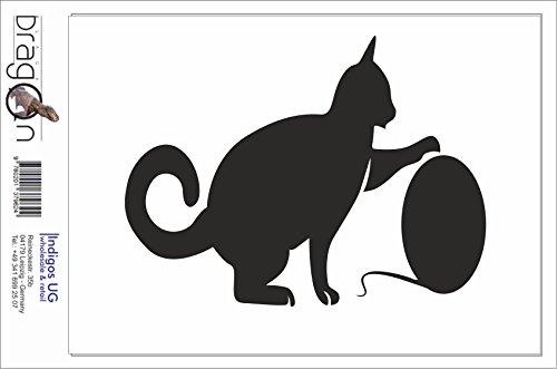 Black Dragon - T-Shirt Herren - JDM / Die cut - sitzende Katze spielt Weiß