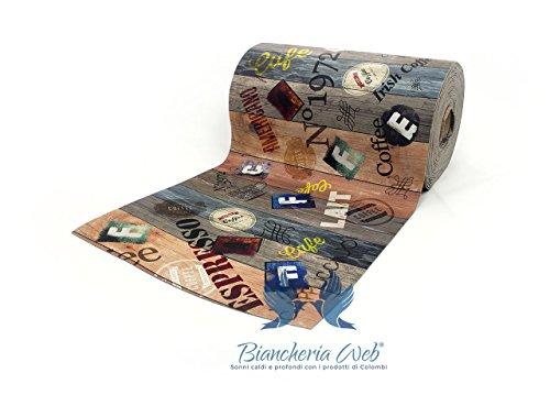 BIANCHERIAWEB Teppich Läufer Rutschfest mit Digitaldruck Position Espresso 50x140 Espresso - Espresso Teppich