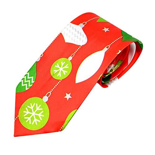 UJUNAOR Weihnachten Männer Krawatte Santa Feiertagsbindung Druck Kreatives Fliege(A,One Size)