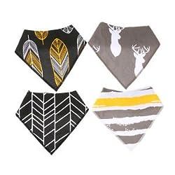 ELECTROPRIME 4 Snap Buttons Printed Baby Bandana Drool Bibs Saliva Towel Dribble Drool