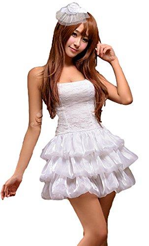 Weißes Cos-play Kostüme Kleid mit mehrlagigem Rock und Haar Clip (Bunny Kostüm Haar)