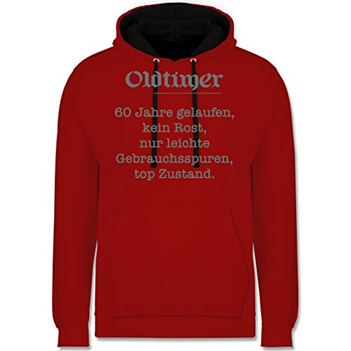Geburtstag - 60. Geburtstag Oldtimer Fun Geschenk - Kontrast Hoodie Rot/Schwarz