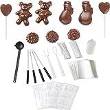 Melissa 16310178 Schokoladen-Fondue-Set, Schokoschmelzer, viel Zubehör, 4 Personen,Keramiktopf,70 Watt,Pralinen,Geschenk, ceramic, braun - 4