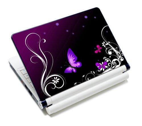 Luxburg® Design Aufkleber Schutzfolie Skin Sticker für Notebook Laptop 10 / 12 / 13 / 14 / 15 Zoll, Motiv: Schmetterlinge lila