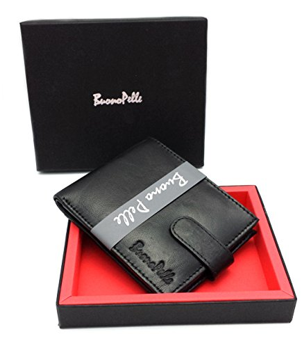 Designer BUONO PELLE Real Leather Mens Wallet Credit Carder Holder Bifold Purse With Gift Box
