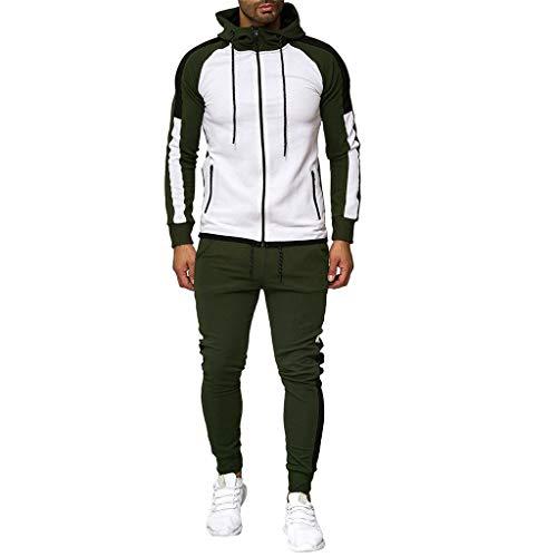CICIYONER Hot!!! Trainingsanzug Herren Jogginganzug Sportanzug Sommer Camouflage Sweatshirt Zipper Tops Hose Sets Tanktop Hoodie +Shorts (M, Armeegrün-neu2)