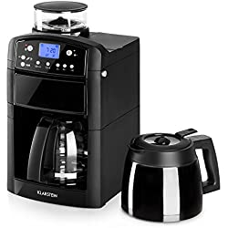Klarstein Aromatica - machine à café filtre, filtre à charbon actif intégré, anti-éclaboussure, buse à vapeur, verseuse verre et thermos, minuterie 24 h, 10 tasses, filtre permanent, noir