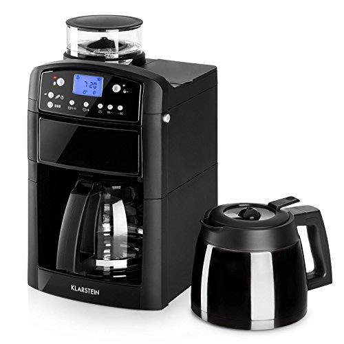 Klarstein Aromatica • Máquina de café • Máquina con filtro • Filtro de carbono • Antigoteo • Jarra de cristal y termo • Temporizador 24h • Hasta 10 tazas • Filtro dorado • Negro