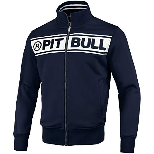 Pit Bull West Coast Trainingsjacke, Old School Chest Logo, Navy-weiß Größe M