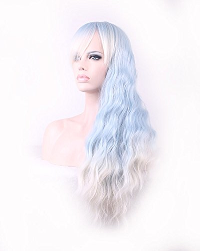 Mermaid Blau Silber Ombre Cosplay Perücke Fairy lang gewellt Elf Kostüm Perücke für Frauen Party Perücke (Blaue Elf Kostüme)