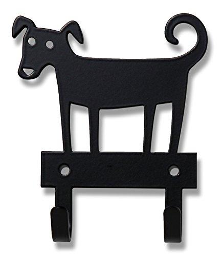 Bengt & Lotta Dog schwarz Hakenleiste mit 2 Haken 10x11,2 cm, Stahl (Teppiche 8 X 10 Abstand)