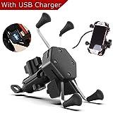 Evermotor Universal Motorrad Handyhalterung Handy Halter mit USB Ladegerät Wasserdicht 360° Rotation X Grip Anti-Schock iPhone Samsung GPS ATV Roller Moped