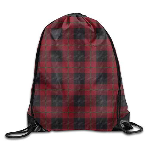 ZHIZIQIU Black Red Tartan Unisex Gym Drawstring Shoulder Bag Backpack String Bags