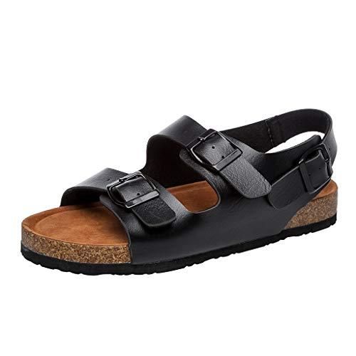 ODRD Sandalen Shoes Lässige Frauen Flip Flop Kork Hausschuhe Doppel Schnalle Schuh Strand Anti-Slip Toe Post Sandale Schuhe Strandschuhe Freizeitschuhe Turnschuhe ()