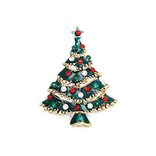 Christmas Brooch Pin Vintage Christmas Tree Pin Holiday Brooch Xmas Gift By Jojo & Lin
