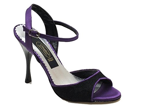 Vitiello Dance Shoes  Felipa Tango Macramè e Raso Viola, Damen Tanzschuhe Schwarz Nero Macramè Nero Raso Viola