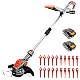 Terratek Cordless Strimmer with 2 Batteries & 30 Spare Blades 18/20V Lithium-Ion, Telescopic