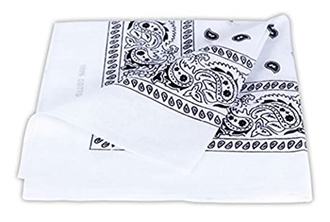 PURECITY® Bandana Original Paisley 100% Coton Foulard Qualité Supérieure / Unité / Lot de 6 / Lot de 12 / 52cm x 52 cm / Tendance Accessoire de Mode Nouvelle Collection (3 # Blanc)