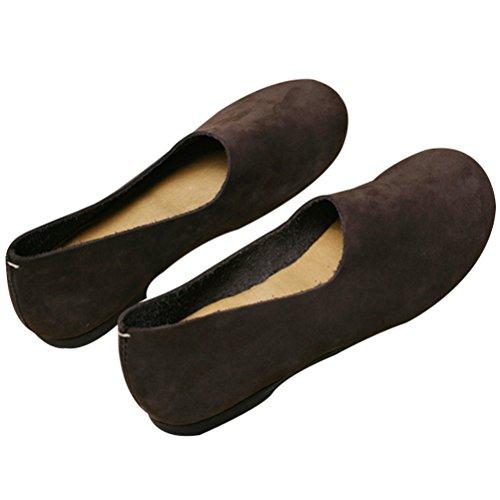 Vogstyle Ladies New Flat Shoes Flat Plain Plain Blackish Coffee Style 3
