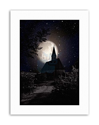 Wee Blue Coo LTD Surrealism Landscape Moon Church Spooky Halloween Canvas Art Prints