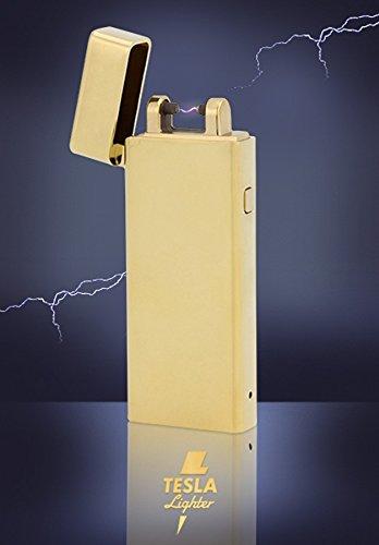 Tesla-Lighter T04 Lichtbogen Feuerzeug Plasma Single-Arc elektronisch wiederaufladbar. Aufladbar per USB mit Strom ohne Gas und Benzin. Mit Ladekabel in edler Geschenkverpackung Gold