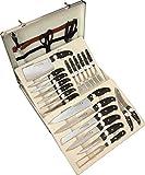 FRX 25 TLG. Messerset + Steakbesteck Set im Koffer Besteckkoffer Messerkoffer Küchenmesser + Steak Besteck (25 TLG.)