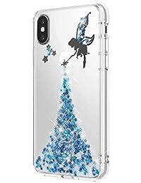Nadoli Transparent Schutzhülle für iPhone XS Max (6,5 Zoll),Weich Gel Glänzend Fee Schmetterling Mädchen Handyhülle Bumper Etui Schale Shell Cover für iPhone XS Max (6,5 Zoll),Blau
