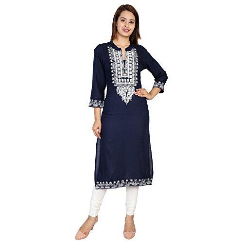 Attire4style Women's Long Straight Rayon Kurta embroidery Navy-Blue Stand Collar
